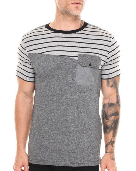 Buyers Picks - Men Black Cut & Sew Multi Stripe Chambray Pocket Tee
