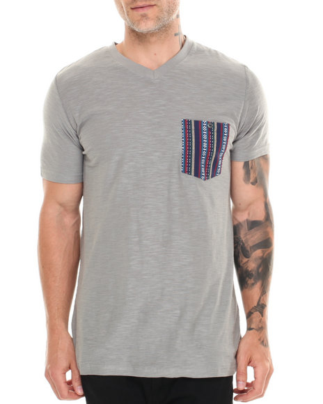 Buyers Picks - Men Grey Jacquard 2 Pocket Reverse Slub Crewneck Tee