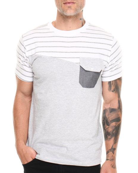 Buyers Picks - Men White Cut & Sew Multi Stripe Chambray Pocket Tee