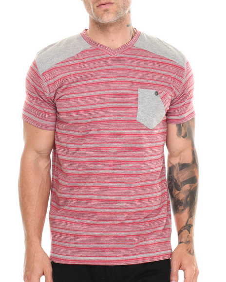 Buyers Picks - Men Red Heathered  Patch Shoulder V-Neck Tee
