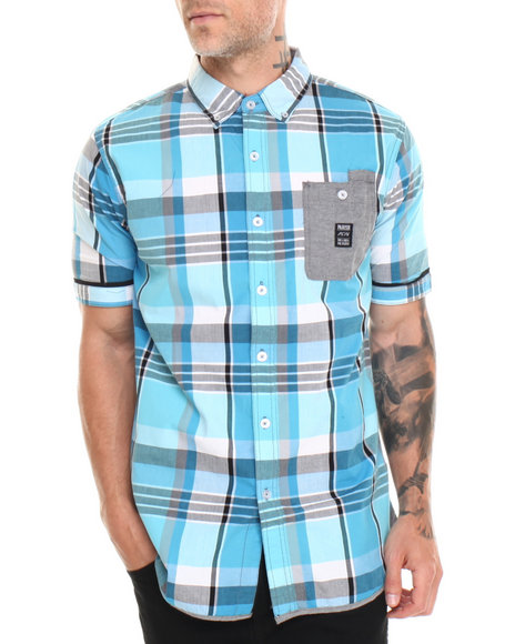 Parish Blue Madras S/S Button-Down