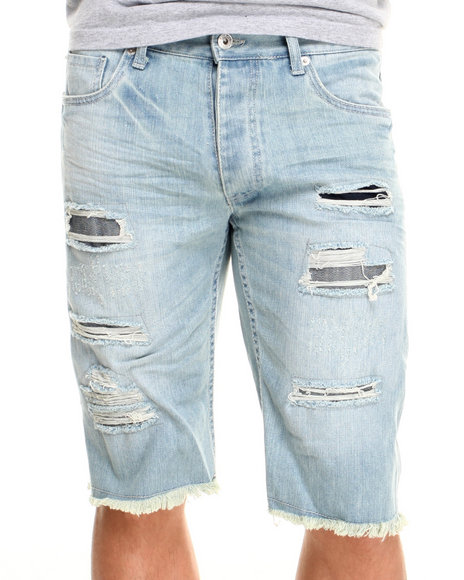 Parish Light Wash R & Tears Denim Shorts