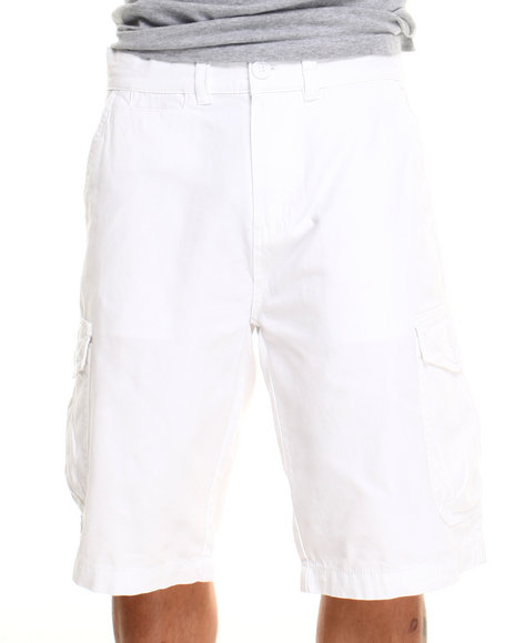 Parish White Solid Cotton Twill Short