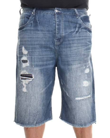Parish Dark Wash Leros Destroyed Denim Short (Big & Tall)