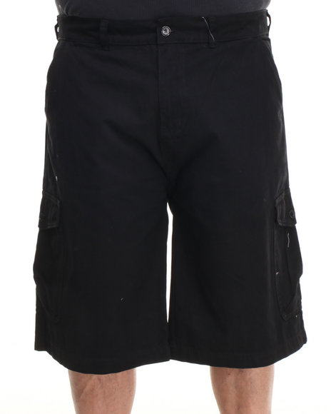 Parish Black Solid Cotton Twill Short (Big & Tall)