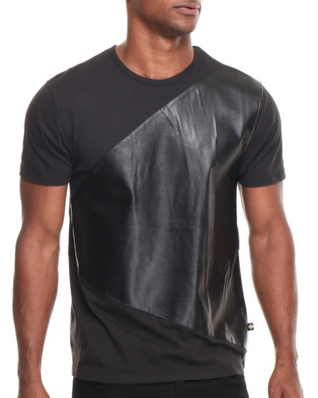 Basic Essentials - Men Black Genuine Nova Triad P / U Trimmed S/S Tee