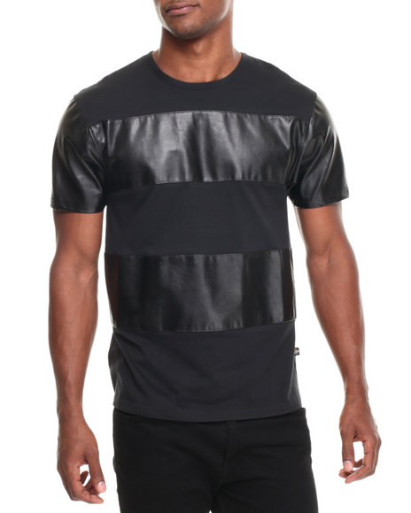 Basic Essentials - Men Black Genuine Nova Wide - P / U Stripe S/S Tee
