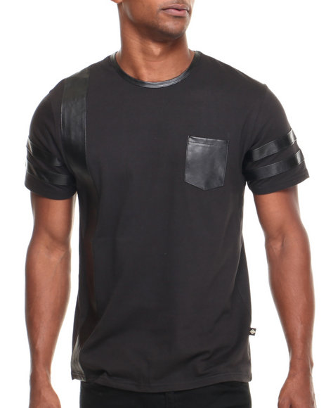 Basic Essentials - Men Black Genuine Nova P / U Trimmed S/S Tee