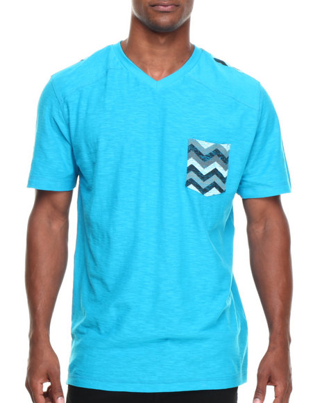 Buyers Picks - Men Teal Zag Pocket Detail V-Neck Tee