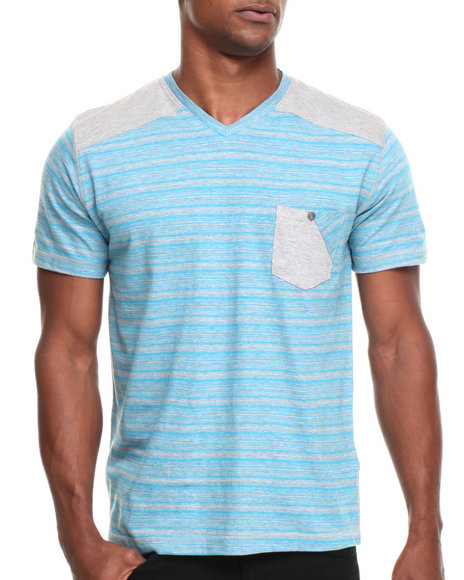 Buyers Picks - Men Blue Heathered  Patch Shoulder V-Neck Tee