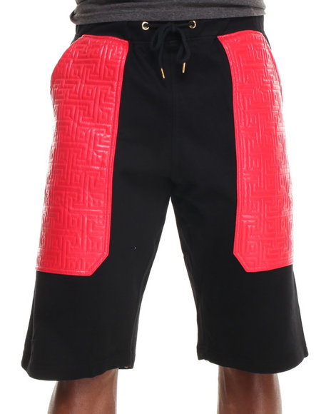 Buyers Picks - Men Red Maze Quilt Faux Leather Shorts W/ Gold Zippers