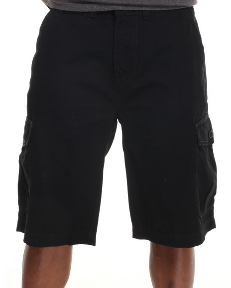 Parish Black Solid Cotton Twill Short