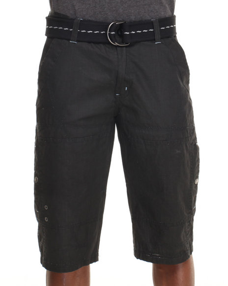 Basic Essentials - Men Black Mercerized Long Shorts