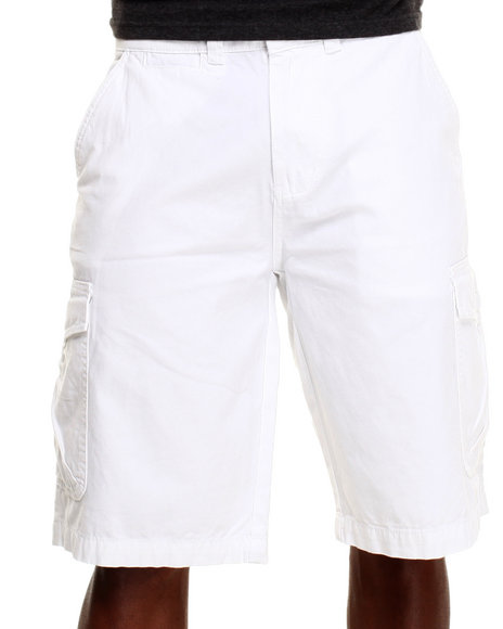 Parish - Men White Solid Cotton Twill Short