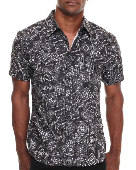 Basic Essentials - Men Black Bandana Print S/S Button-Down