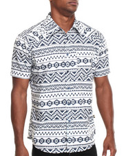 Basic Essentials - Aztec Print S/S Button-Down