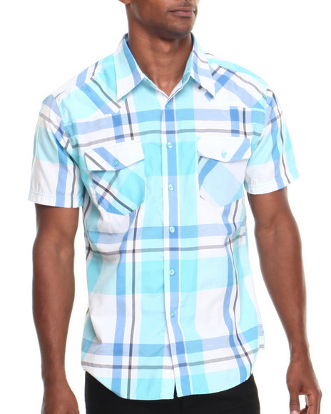 Basic Essentials - Men Turquoise Plaid S/S Button-Down
