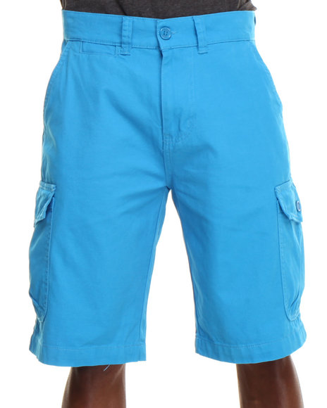 Parish Blue Solid Cotton Twill Short