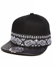 Men - Bandana Print/Crocodile Faux leather detail Snapback hat
