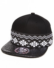 Men - Tribal & Crocodile Faux leather Snapback hat
