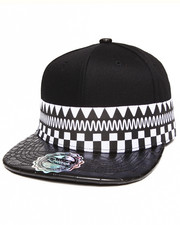 Men - ZigZag Print/Crocodile Faux leather detail Snapback hat