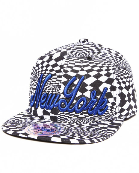 Buyers Picks Men New York Allover Print Phychadelc City Snapback Blue - $4.99