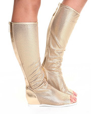 Fashion Lab - Alyssa Perforated Flat Peep Toe Boot