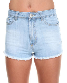 Basic Essentials - V-Shape Frayed Denim Shorts