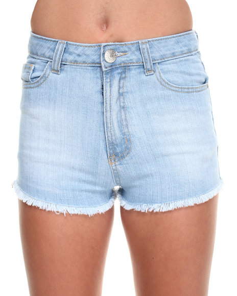 Basic Essentials - Women Light Wash V-Shape Frayed Denim Shorts - $9.99