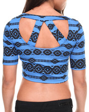 Women - Tribal Aztec Print Cropped Top