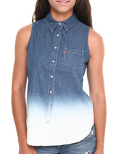 Women - Relaxed Sleeveless Dip-Dye Chambray Shirt