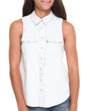 Women - Relaxed Sleeveless Western Denim Shirt