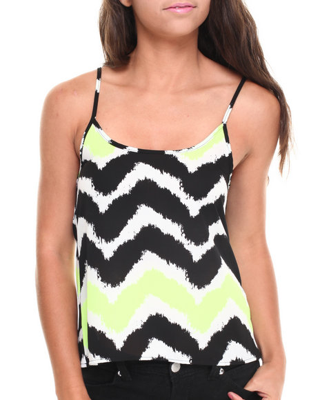 ALI & KRIS Black,Yellow Neon Chevron Print Tank Top