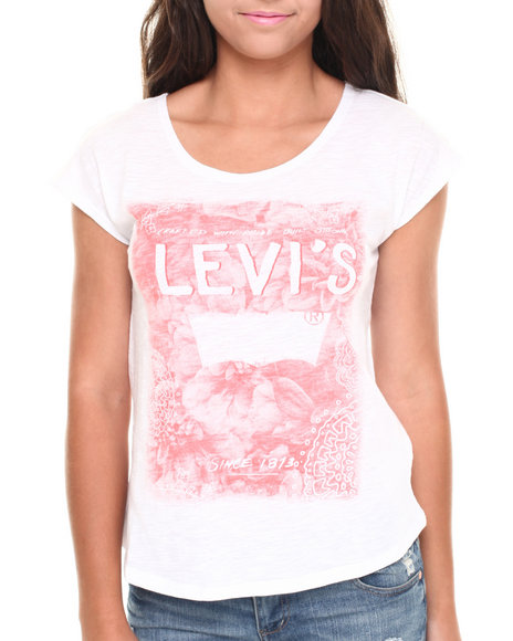 Levi's White Faded Floral Burnout Logo Hi-Low Tee