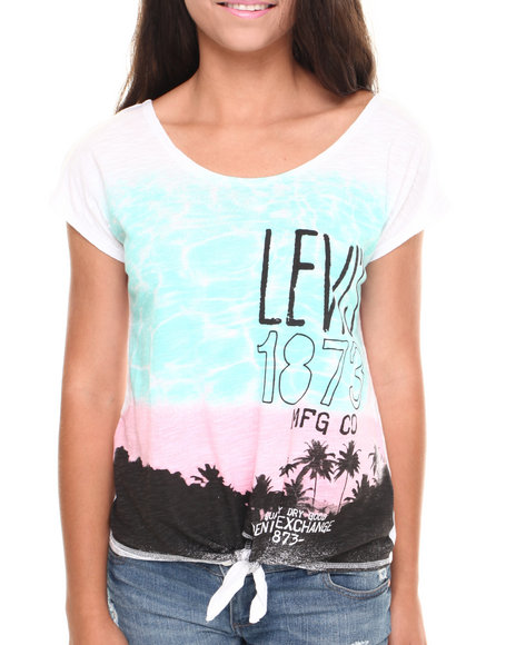 Levi's White Palm Spring's Reflection Tie Front Tee