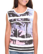 Women - Palm Tree Sunset Hi-Low Tank Top