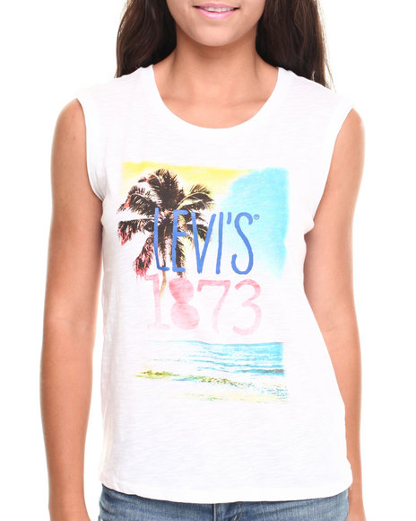 Levi's White Palm Tree Paradise Tank Top