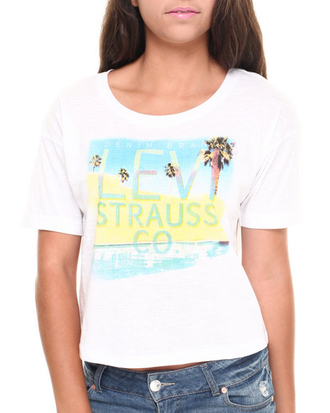 Levi's White Hotel California Boxy Crop Tee