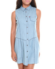 Women - Drop Waist Sleeveless Chambray Shirt Dress