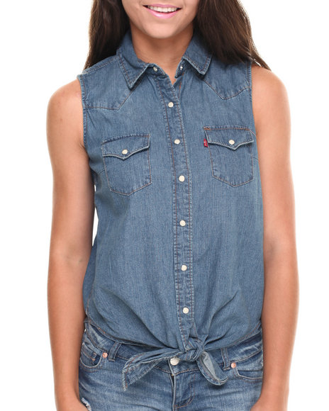 Levi's Medium Wash Sleeveless Tie Front Chambray Shirt