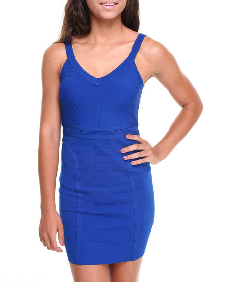 Xoxo - Women Blue Deep V Bodycon Party Dress