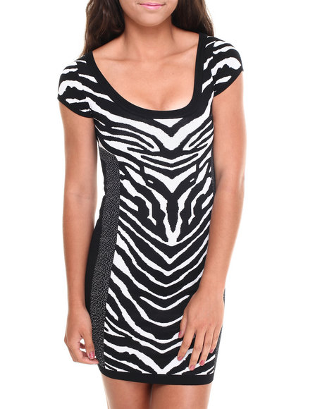 Xoxo - Women Black Zebra Dot Bodycon Party Dress