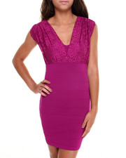 Women - Lace Top Bodycon Party Dress