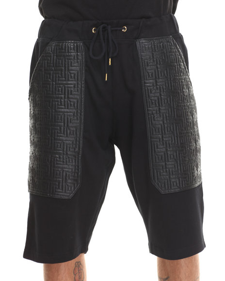 Buyers Picks - Men Black Maze Quilt Faux Leather Shorts W/ Gold Zippers