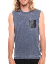 Tanks - Vegan Leather Snake Print Pocket Acid Wash Tank