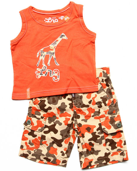LRG - Boys Orange 2 Pc Set - Tank & Camo Shorts (Infant)