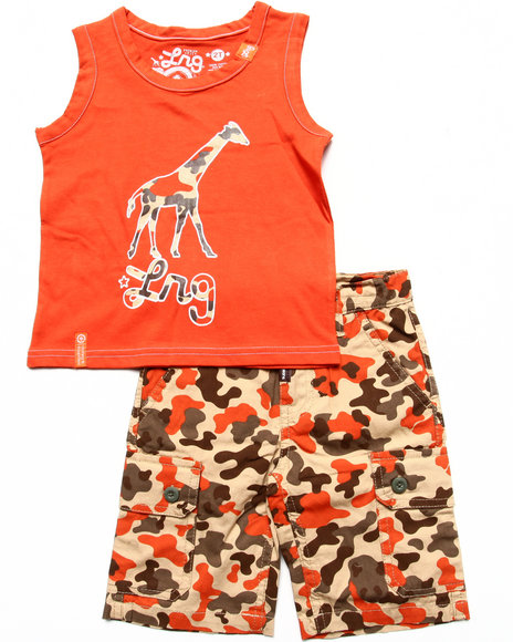 LRG - Boys Orange 2 Pc Set - Tank & Camo Shorts (2T-4T)