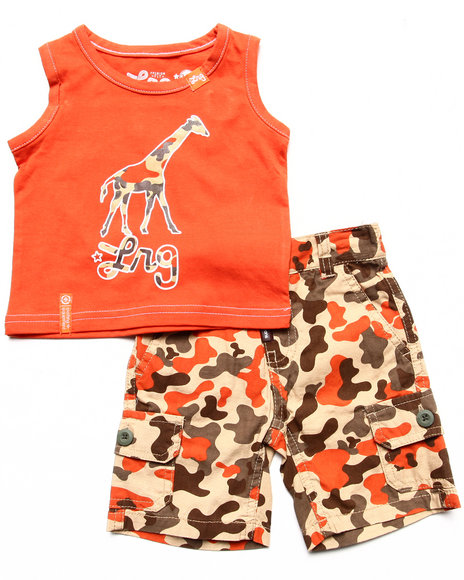 LRG - Boys Orange 2 Pc Set - Tank & Camo Shorts (Newborn)