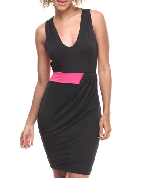 Baby Phat Black Draped Front Dress