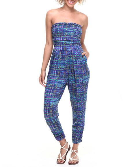 Ali & Kris - Women Blue Mosaic Print Ruched Strapless Jumpsuit
